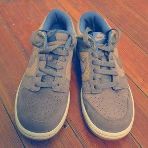 Nike Suede and Burlap Sneakers in Taupe